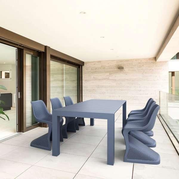 Chaise design en polypropylène gris anthracite ajouré - Bloom - 7