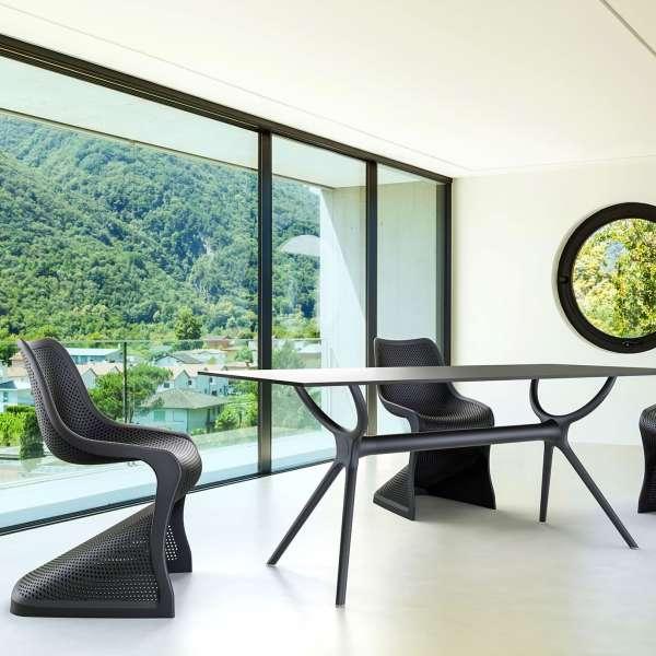Chaise design en polypropylène noir ajouré - Bloom - 5