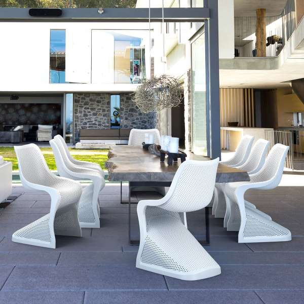 Chaise design en polypropylène blanc ajouré - Bloom - 2
