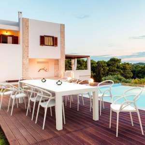 Fauteuil de jardin design en polypropylène blanc - Mila