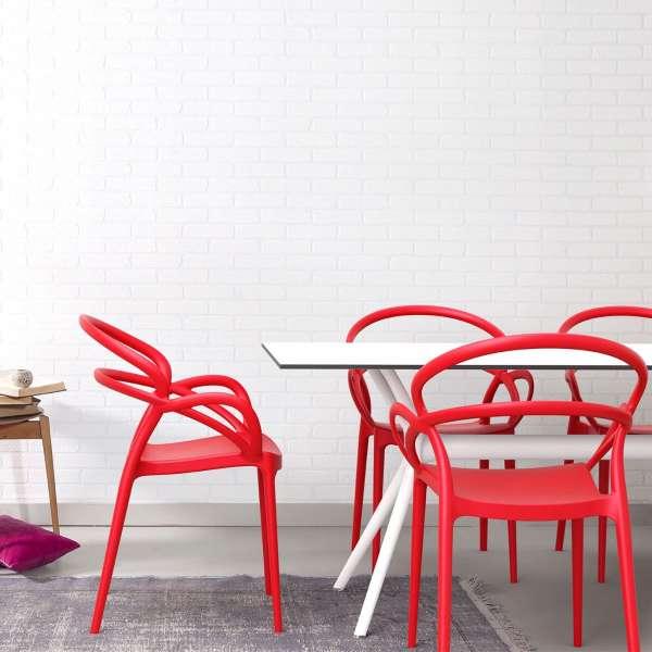 Fauteuil design en polypropylène rouge - Mila - 7