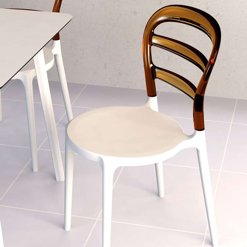 Chaise moderne en polycarbonate transparent et polypropylène Miss Bibi