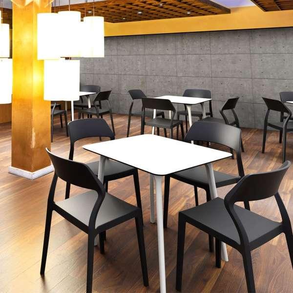 Chaise empilable design en polypropylène noir - Snow - 30