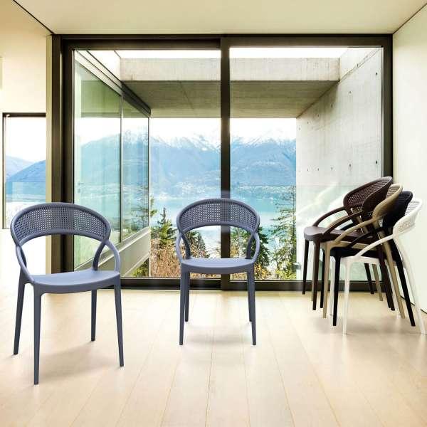 Chaise design empilable en plastique noir - Sunset - 6
