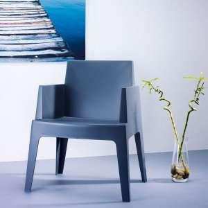 Fauteuil moderne en polypropylène gris foncé - Box