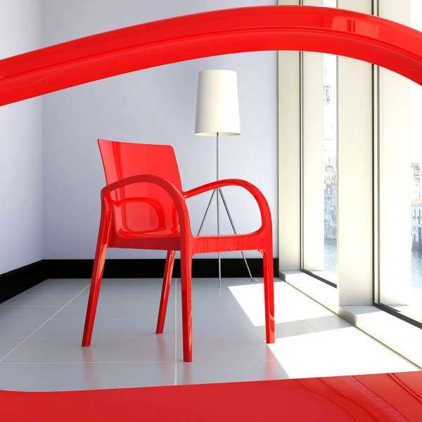 Fauteuil moderne en plexi rouge opaque - Déjà vu - 11