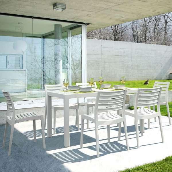 Table de terrasse rectangulaire en résine blanc - Ares - 15