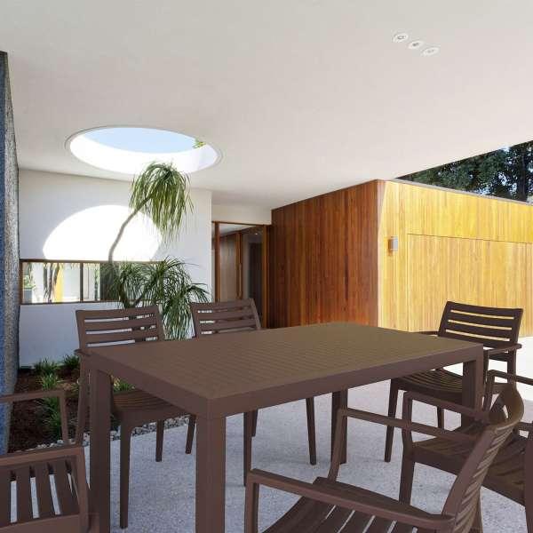 Table de terrasse rectangulaire en résine marron - Ares - 16