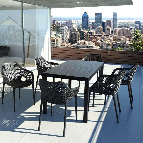 Table de terrasse rectangulaire en résine noire - Ares - 17