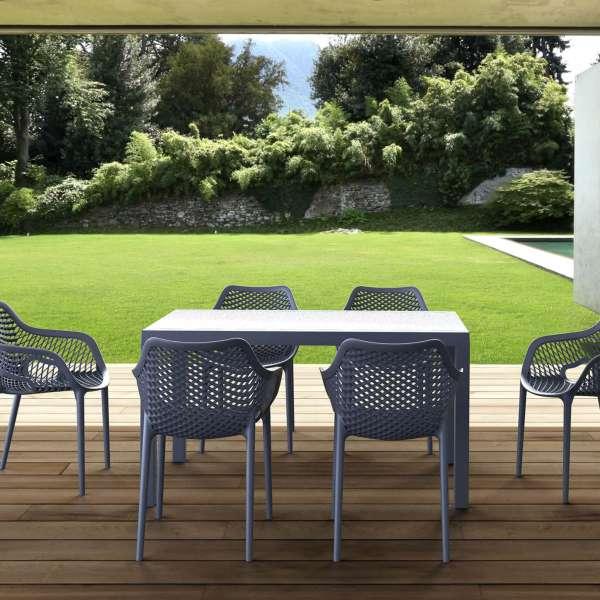 Table de terrasse rectangulaire en résine gris foncé - Ares - 18
