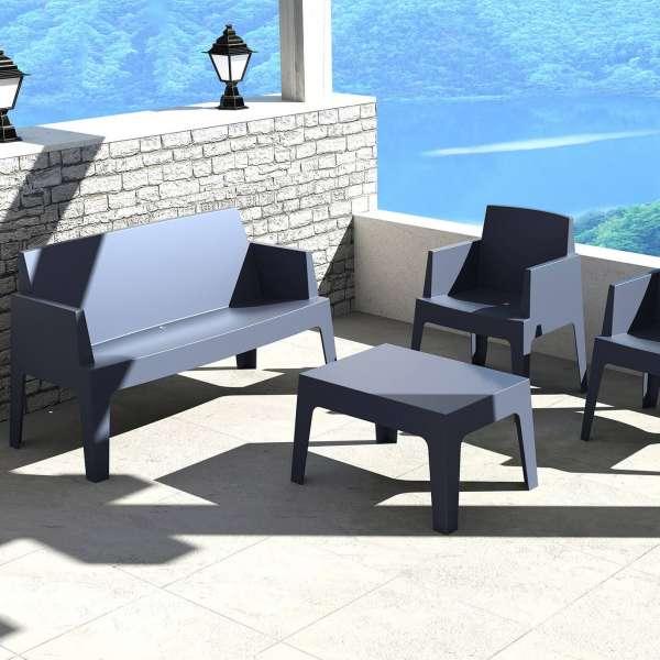 Table basse de jardin en polypropylène gris foncé - Box - 8