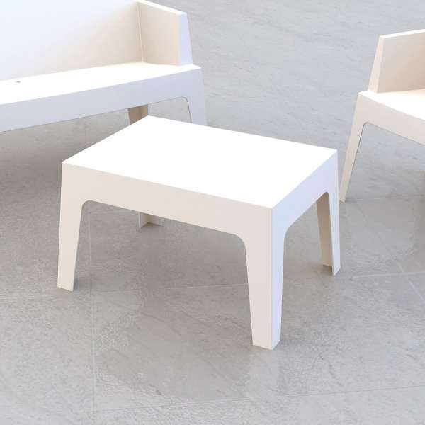 Table basse de jardin en polypropylène blanc - Box - 9