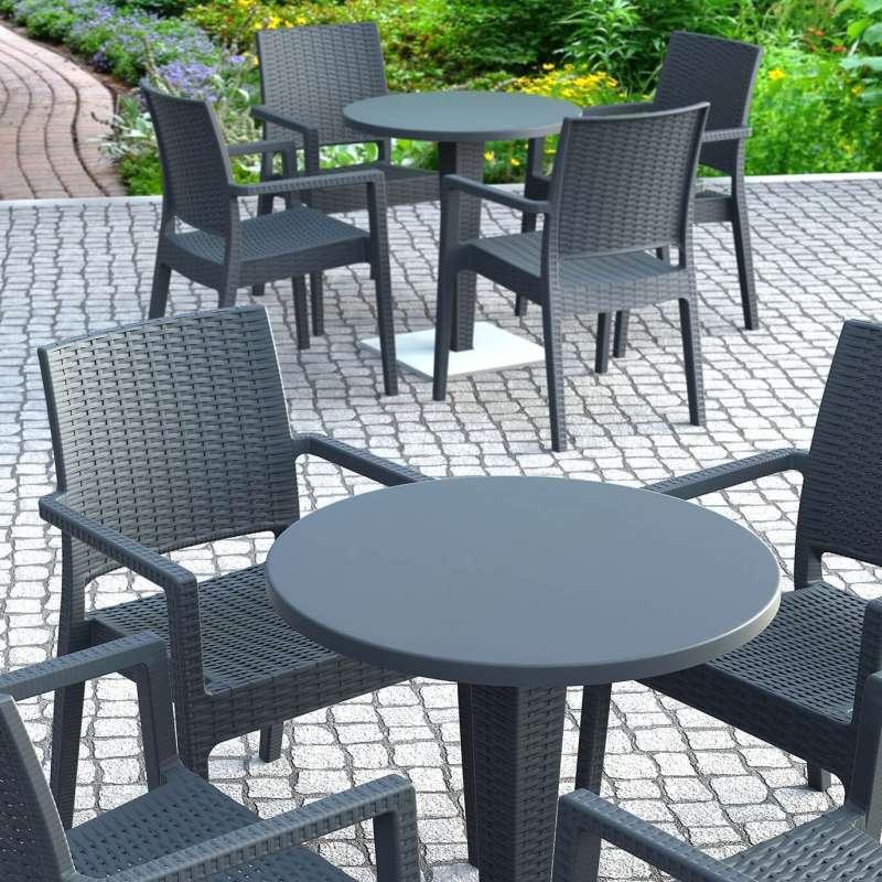 Table de jardin ronde en résine tressée et plateau werzalit - Riva ...
