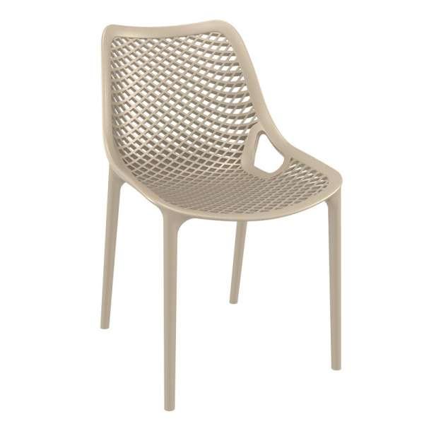 Chaise de jardin moderne ajourée en polypropylène beige - Air - 22