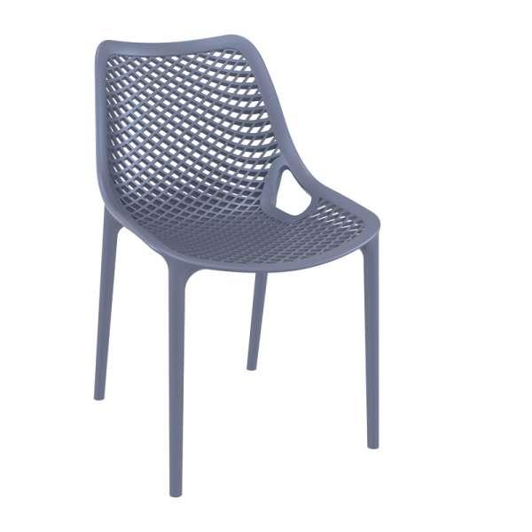 Chaise de jardin moderne ajourée en polypropylène gris foncé - Air - 24