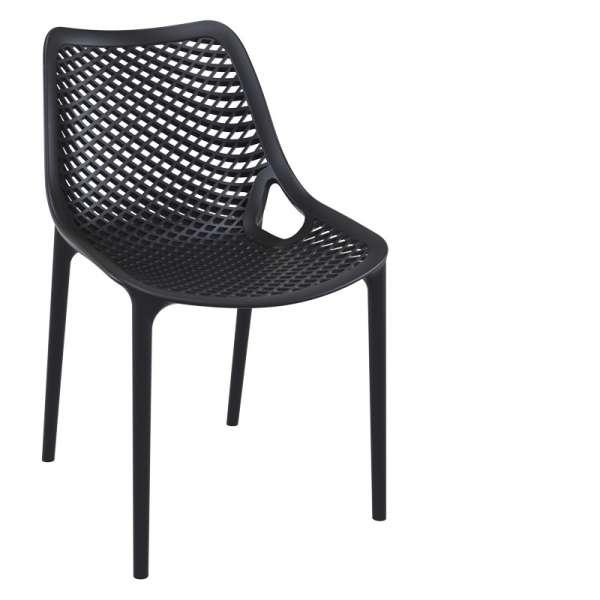 Chaise de jardin moderne ajourée en polypropylène noir - Air - 31