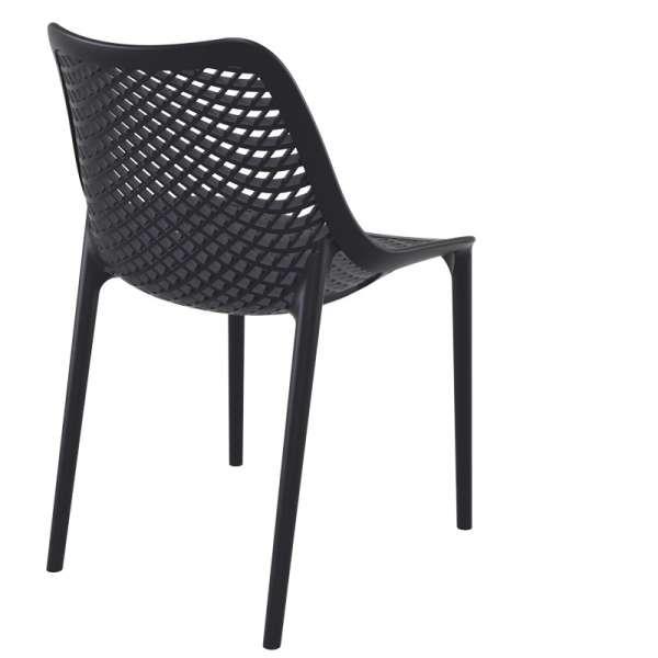 Chaise de jardin moderne ajourée en plastique noir - Air - 32