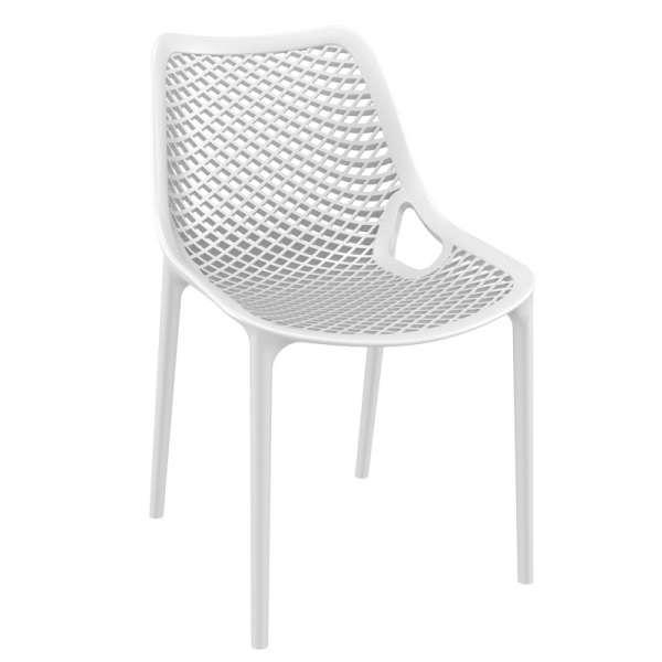 Chaise de jardin moderne ajourée en polypropylène blanc - Air - 33