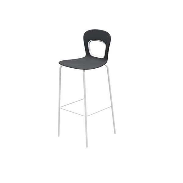 Tabouret de bar moderne pieds en métal gris et assise en plastique noire - Blog - 2
