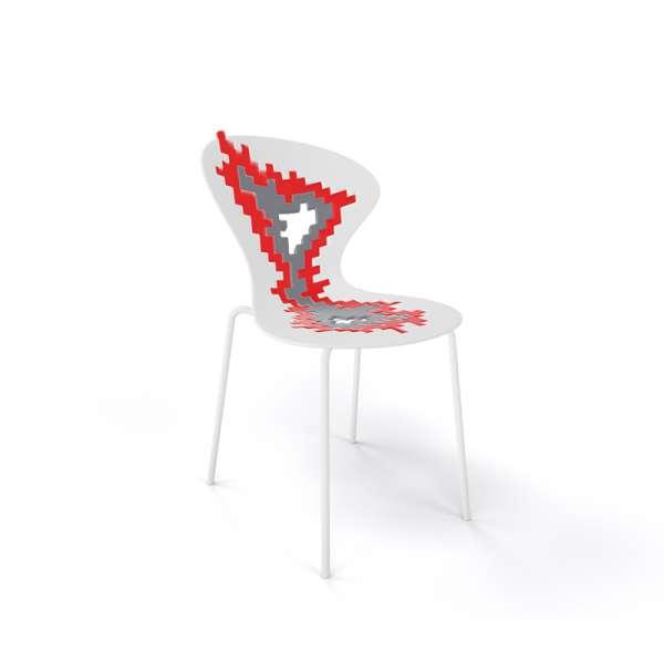 Chaise originale multicolore blanc pieds blancs - Big Bang - 13