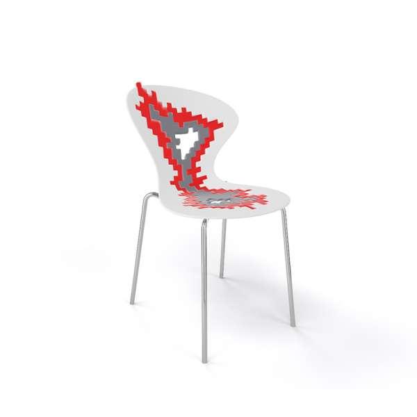 Chaise originale multicolore blanc pieds chromés - Big Bang - 14