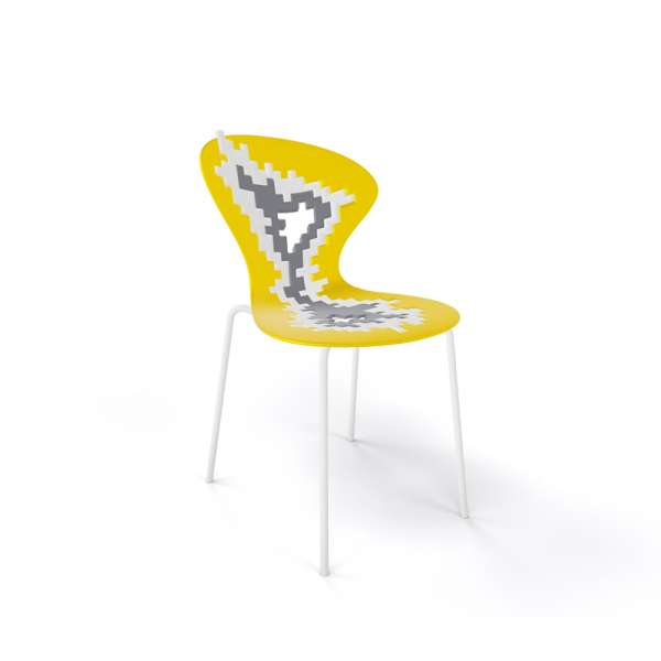 Chaise originale multicolore jaune pieds blancs - Big Bang - 16