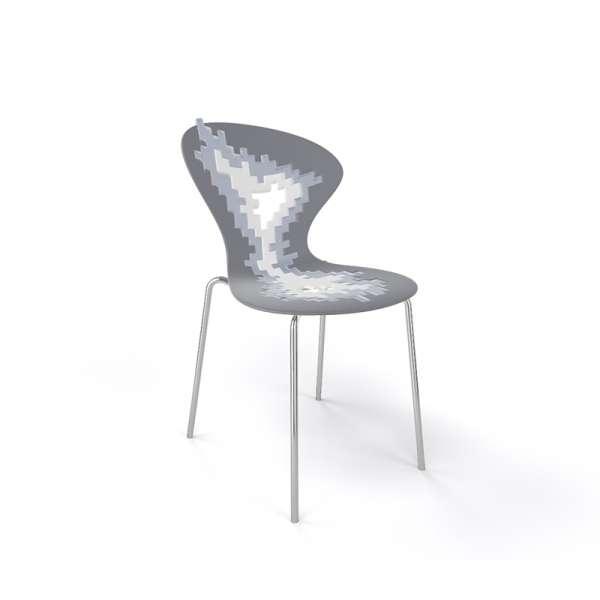 Chaise originale multicolore gris pieds chromés - Big Bang - 19