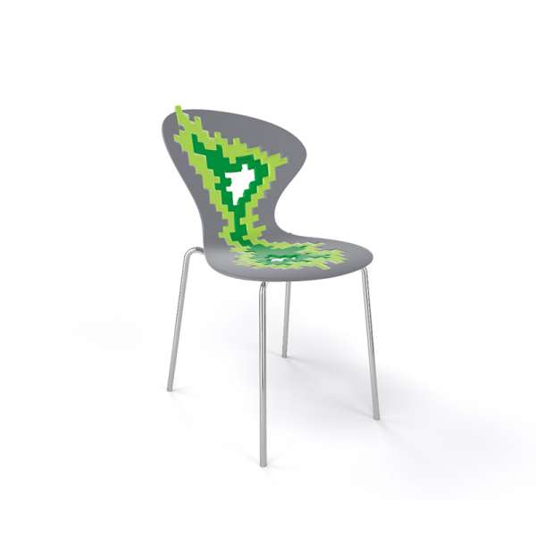 Chaise originale multicolore vert pieds chromés - Big Bang - 21