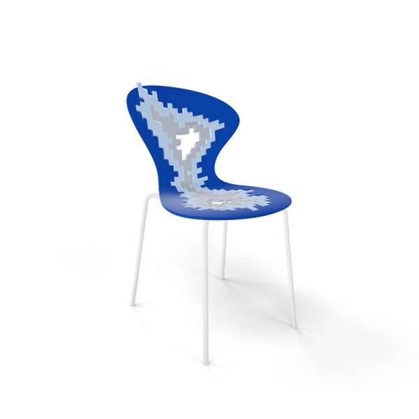 Chaise originale multicolore bleu pieds blancs - Big Bang - 22