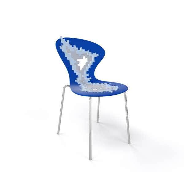 Chaise originale multicolore bleu pieds chromés - Big Bang - 23