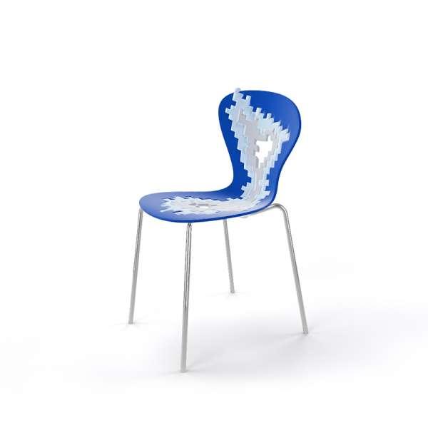 Chaise multicolore bleu pieds chromés - Big Bang - 24
