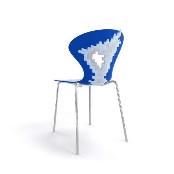 Chaise design multicolore bleu pieds chromés - Big Bang - 25