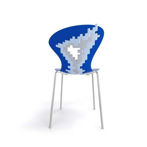 Chaise coloris bleu pieds chromés - Big Bang - 26