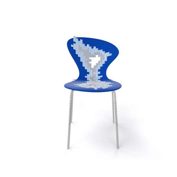 Chaise originale multicolore bleu pieds chromés - Big Bang - 27