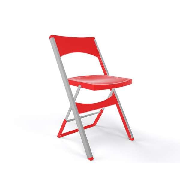 Chaise pliable solide en technopolymère rouge et métal aluminium - Compact - 12