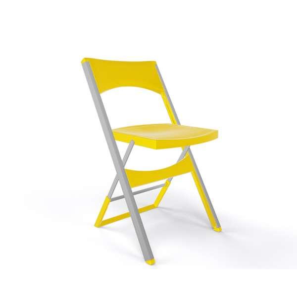 Chaise pliante solide en technopolymère jaune et métal aluminium - Compact - 13
