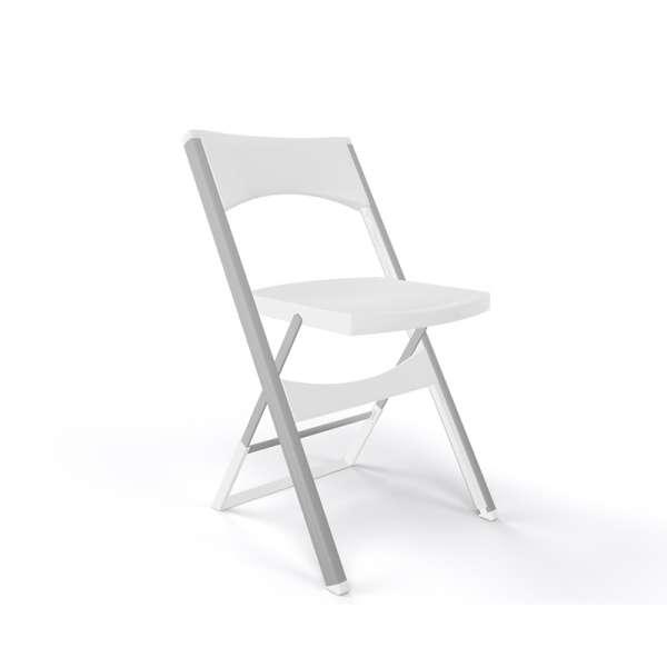 Chaise pliante solide en technopolymère beige et métal aluminium - Compact - 15