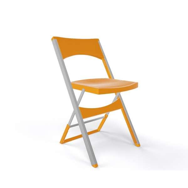 Chaise pliante solide en technopolymère orange et métal aluminium - Compact - 16
