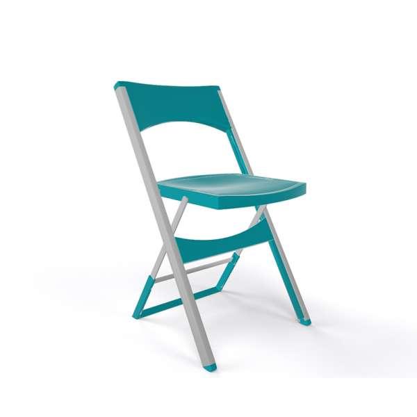Chaise pliante solide en technopolymère turquoise et métal aluminium - Compact - 17