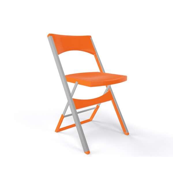 Chaise pliante solide en technopolymère orange et métal aluminium - Compact - 18