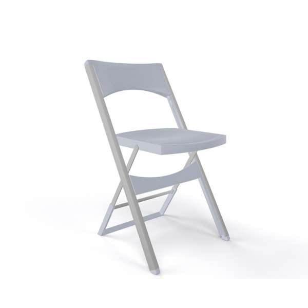 Chaise pliante solide en technopolymère gris et métal aluminium - Compact - 20