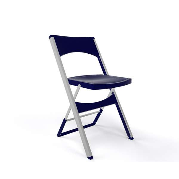 Chaise pliante solide en technopolymère bleu nuit et métal aluminium - Compact - 21