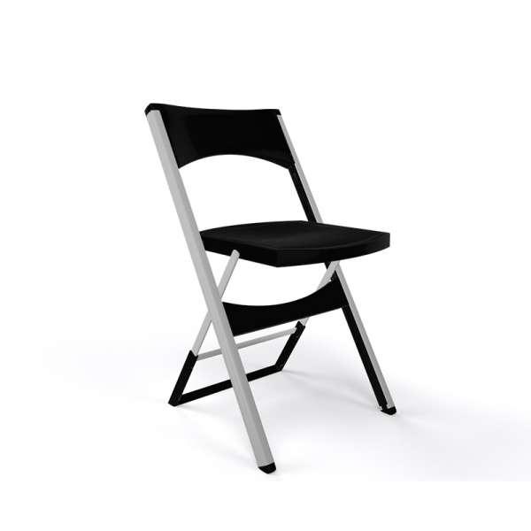 Chaise pliable solide en technopolymère noir et métal aluminium - Compact - 22