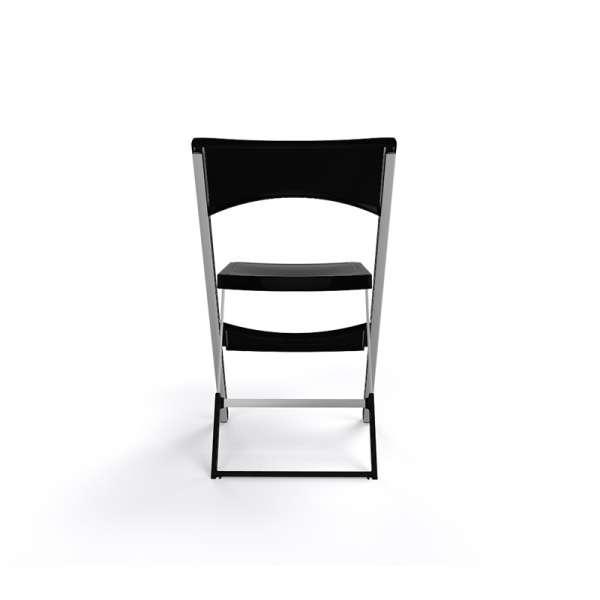 Chaise pliable solide en plastique noir et métal aluminium - Compact - 23