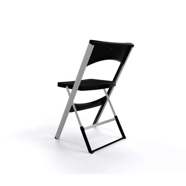 Chaise pliante solide en plastique noir et métal aluminium - Compact - 24