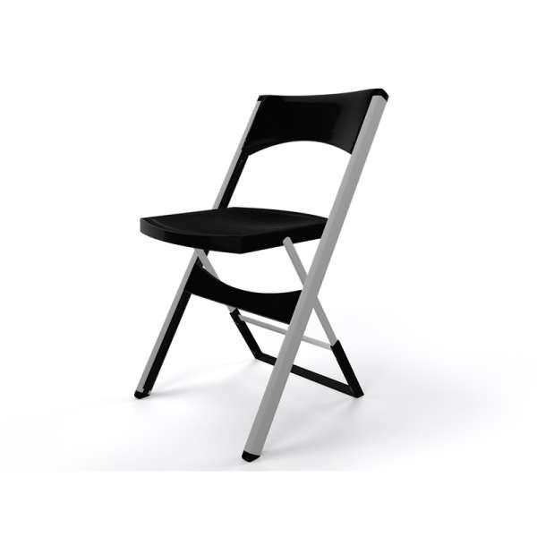 Chaise pliante solide en plastique noir et métal alu - Compact - 25