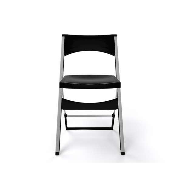Chaise pliante solide en plastique noir et alu - Compact - 26