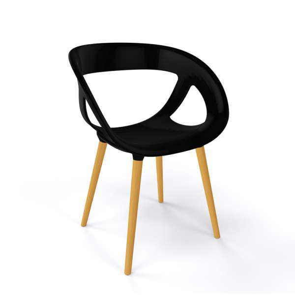 Fauteuil moderne coque en plastique noir et pieds en bois naturel - Moema - 15