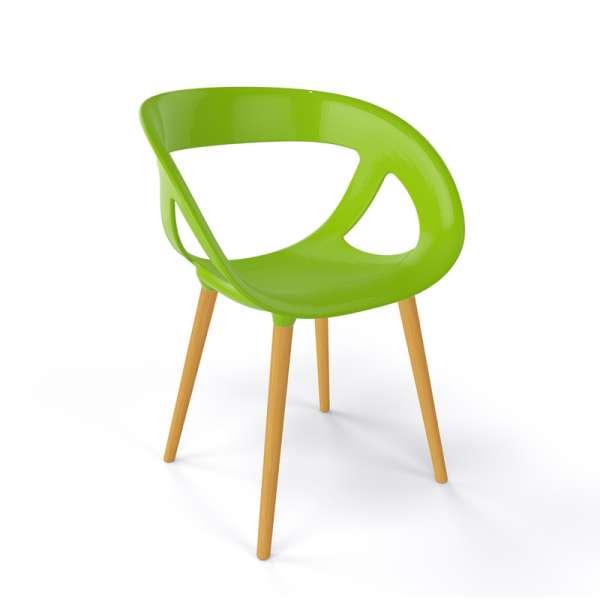 Fauteuil moderne coque en plastique vert et pieds en bois naturel - Moema - 19