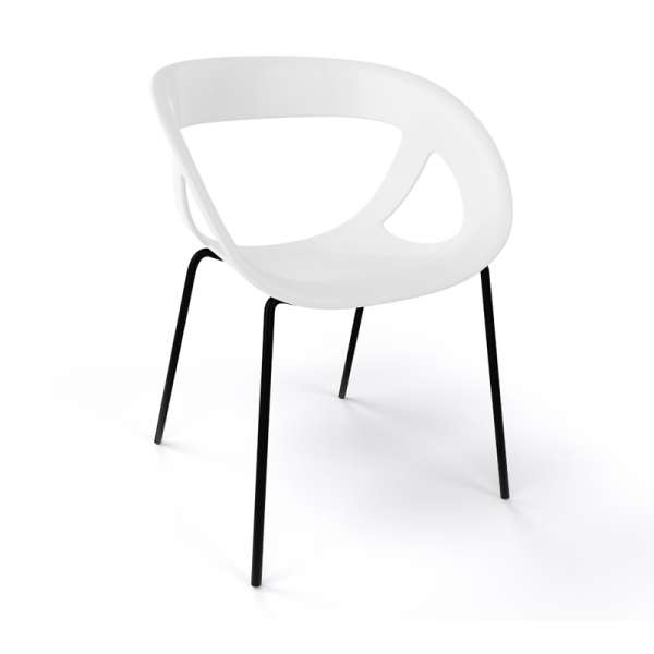 Fauteuil design italien blanc pieds noirs Moema - 13